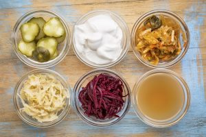 probiotic, fermented food, yogurt, sauerkraut, apple cider vinegar, gut health, digestion